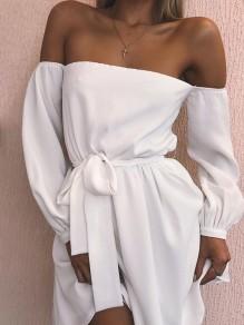 White Boat Neck Belt Boat Neck Casual Mini Dress