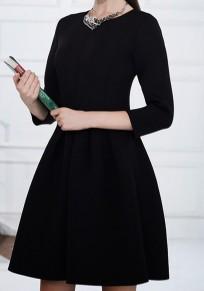 Black Pleated Zipper Round Neck Long Sleeve Tutu Mini Dress