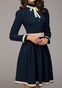 Navy Blue Belt Single Breasted Round Neck Long Sleeve Fashion Midi Dress