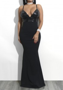 Black Sequin Mermaid Spaghetti Strap High Waisted Backless Elegant Banquet Party Maxi Dress