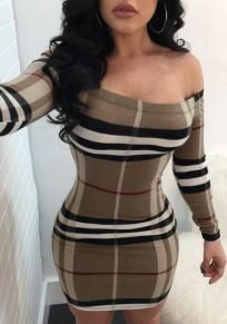 Khaki Striped Print Boat Neck Long Sleeve Mini Dress