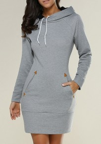 Light Grey Drawstring Pockets Zipper Hooded Long Sleeve Mini Dress