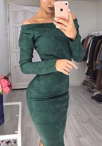 Green Boat Neck Long Sleeve Fashion Midi Dress