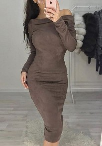 Khaki Boat Neck Long Sleeve Fashion Midi Dress