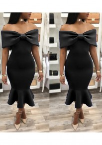 Black Ruffle Bodycon Banquet Mermaid Bowkont Off Shoulder Elegant Party Midi Dress