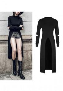 Black Cut Out Irregular Round Neck Fashion Swallowtail Midi Dress