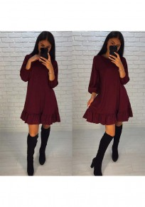 Wine Red Plain Peplum Ruffle Round Neck Sweet Mini Dress