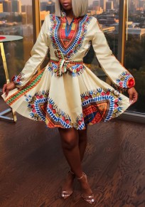 Beige Tribal Floral Pattern Sashes Lantern Sleeve High Waisted Homecoming Party Mini Dress