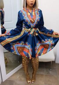 Mini abito motivo floreale tribale fodero lanterna partito A domicilio A vita alta blu