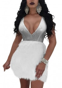 Silver Patchwork Fur Sequin Deep V-neck Bodycon Clubwear Party Mini Dress