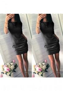 Mini abito tasche girocollo moda blu nero