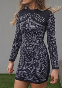 Mini-robe à fleurs strass col ronde manches longues moulante mode noir