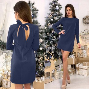 Navy Blue Tie Back Cut Out Round Neck Mini Dress