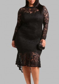 Black Lace Cut Out Pleated High-low Plus Size Long Sleeve Party Midi Dress