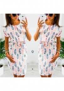 Pink Feather Floral Drawstring Irregular V-neck Casual Midi Dress