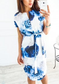 Blue Rose Floral Drawstring Irregular V-neck Casual Midi Dress