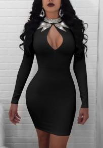 Mini-robe découpes col strass manches longues moulante mode de cocktail noir