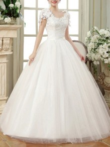 White Patchwork Lace Grenadine Tulle Tutu Elegant Wedding Gowns Maxi Dress