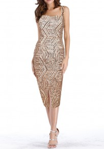 Champagne Patchwork Sequin Square Neck Below Knee Party Fashion Midi Dress