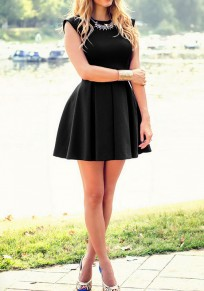 Black Plain Ruffle Round Neck Sweet Mini Dress