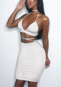 White Cross Back Bright Wire Sparkly Backless Bodycon NYE Clubwear Party Midi Dress