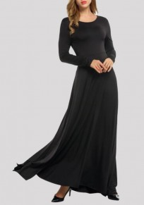Black Draped Bow Backless Round Neck Long Sleeve Prom Evening Party Maxi Dress