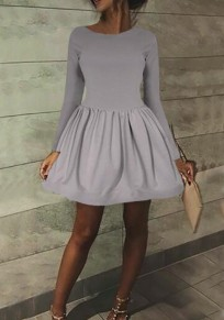 Grey Pleated Long Sleeve High Waisted Skater Tutu Cute Homecoming Mini Dress