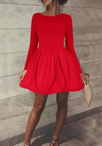Red Plain Pleated Round Neck Long Sleeve Sweet Mini Dress