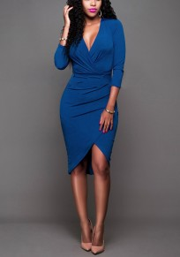 Blue Ruffle Irregular Plunging Neckline Office Worker/Daily Midi Dress