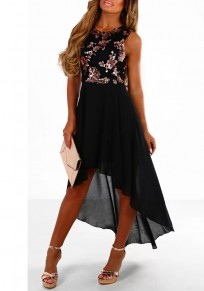 Black Patchwork Sequin Grenadine Draped Irregular High-low Party Midi Dress