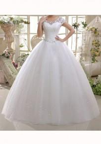 Beige Spitze Schnürung Strass Rückenfreies Rundhals Kurzarm Maxikleid Abendkleider Elegant Hochzeitskleid Brautkleid