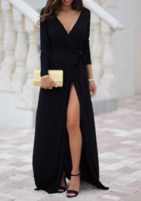 Black Draped Sashes Side Slit Deep V-neck Long Sleeve Elegant Banquet Prom Maxi Dress