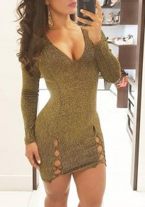 Golden Cut Out Bright Wire V-neck Long Sleeve Mini Dress