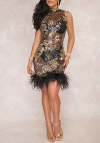 Black-Golden Patchwork Sequin Grenadine Feather Band Collar Clubwear Party Mini Dress