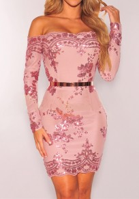 Pink Patchwork Sequin Glitter Off Shoulder Backless Bodycon Clubwear NYE Party Mini Dress