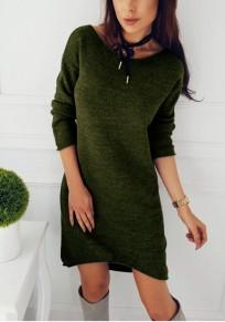 Mini abito semplice irregolare girocollo manica lunga casuale verde
