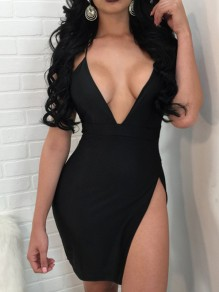 Black Spaghetti Tie Back Thigh High Side Slits Bodycon Backless Clubwear Deep V-neck Mini Dress