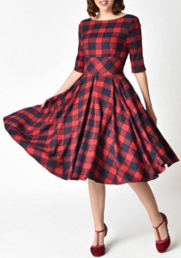 Red Plaid Backless Pleated Audrey Hepburn Tutu Prom Evening Party Vintage Midi Dress
