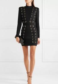 Mini robe cordon de serrage à col haut noir