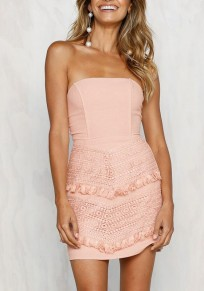 Pink Patchwork Ruffle Bandeau Tie Back Fashion Mini Dress