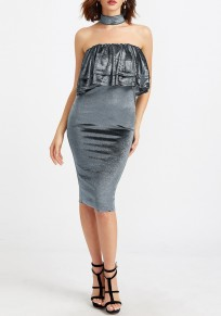 Grey Plain Bandeau Cascading Ruffle Fashion Midi Dress
