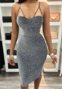 Silver Plain Condole Belt Cut Out Fashion Midi Dress