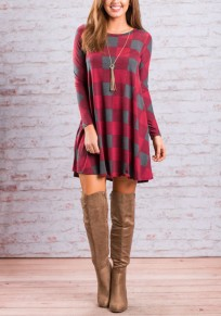 Red-Grey Plaid Pattern Draped Round Neck Long Sleeve Casual Oversized Mini Dress