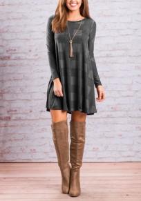Mini robe à carreaux drapé col rond à sans manches longue décontracté surdimensionné gris
