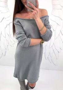 Mini-robe en maille ample epaule tombante manches longues décontracté pull gris