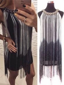 Weiße Farbverlauf Quaste Kette Rundhals Mode Minikleid