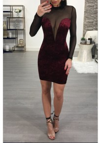 Mini robe grenade bordeaux dédécoupes bodycon dos nu clubwear party