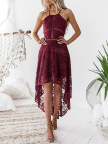 Burgundy Patchwork Lace Backless Cross Back High-Low Irregular Halter Homecoming Party Maxi Dress