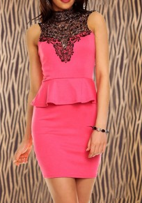 Pink Patchwork Lace Tie Back High Neck Sweet Mini Dress