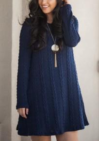 Saphirblau Drapierte A-Linie Rundhals Langarm Sweater Mini-Kleid